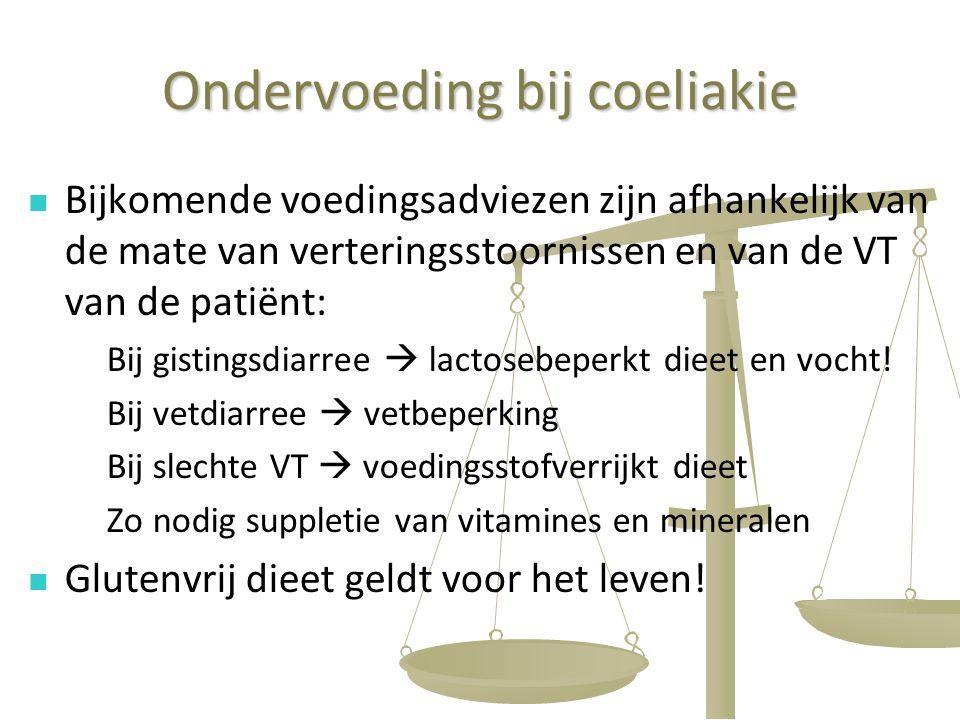 49 Ondervoeding bij coeliakie Bijkomende voedingsadviezen zijn afhankelijk van de mate van verteringsstoornissen en van de VT van de patiënt: Bij gist