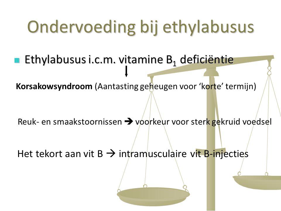 51 Ondervoeding bij ethylabusus Ethylabusus i.c.m. vitamine B 1 deficiëntie Ethylabusus i.c.m. vitamine B 1 deficiëntie Korsakowsyndroom (Aantasting g