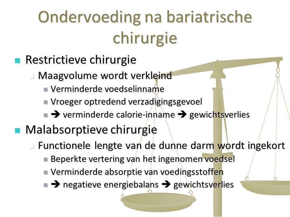 52 Ondervoeding na bariatrische chirurgie Restrictieve chirurgie Restrictieve chirurgie Maagvolume wordt verkleind Maagvolume wordt verkleind Verminde