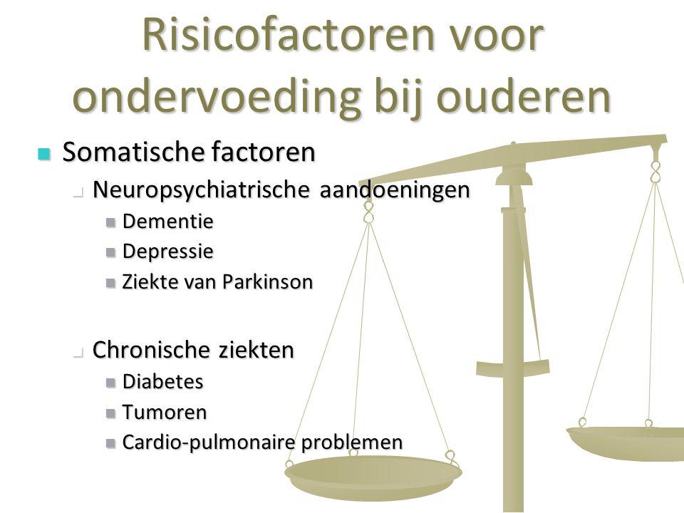 7 Risicofactoren voor ondervoeding bij ouderen Somatische factoren Somatische factoren Neuropsychiatrische aandoeningen Neuropsychiatrische aandoening