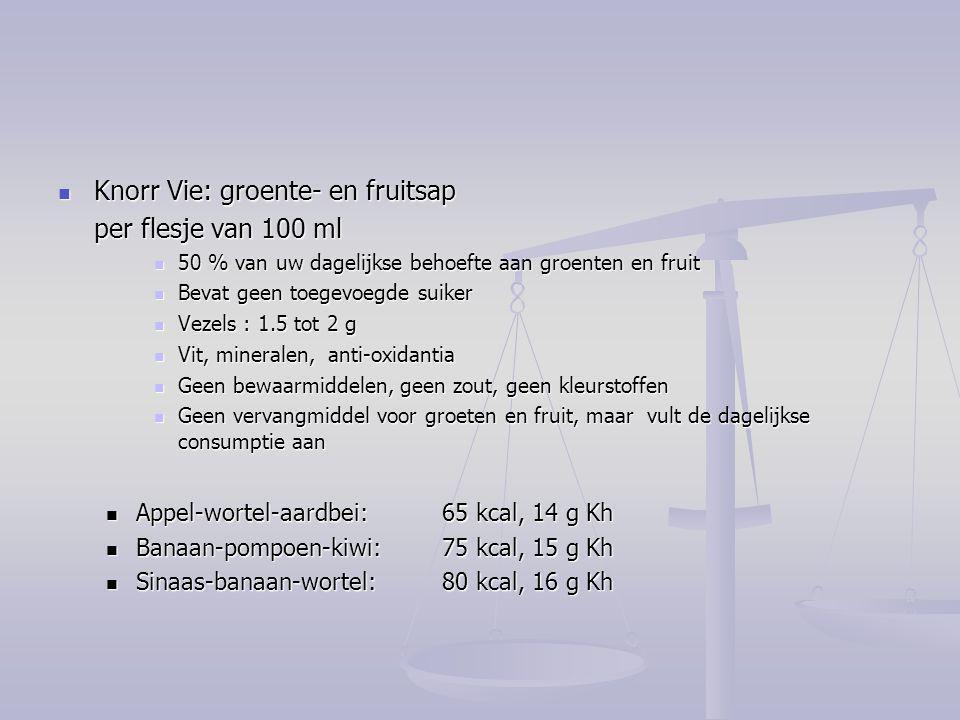 Knorr Vie: groente- en fruitsap Knorr Vie: groente- en fruitsap per flesje van 100 ml 50 % van uw dagelijkse behoefte aan groenten en fruit 50 % van u