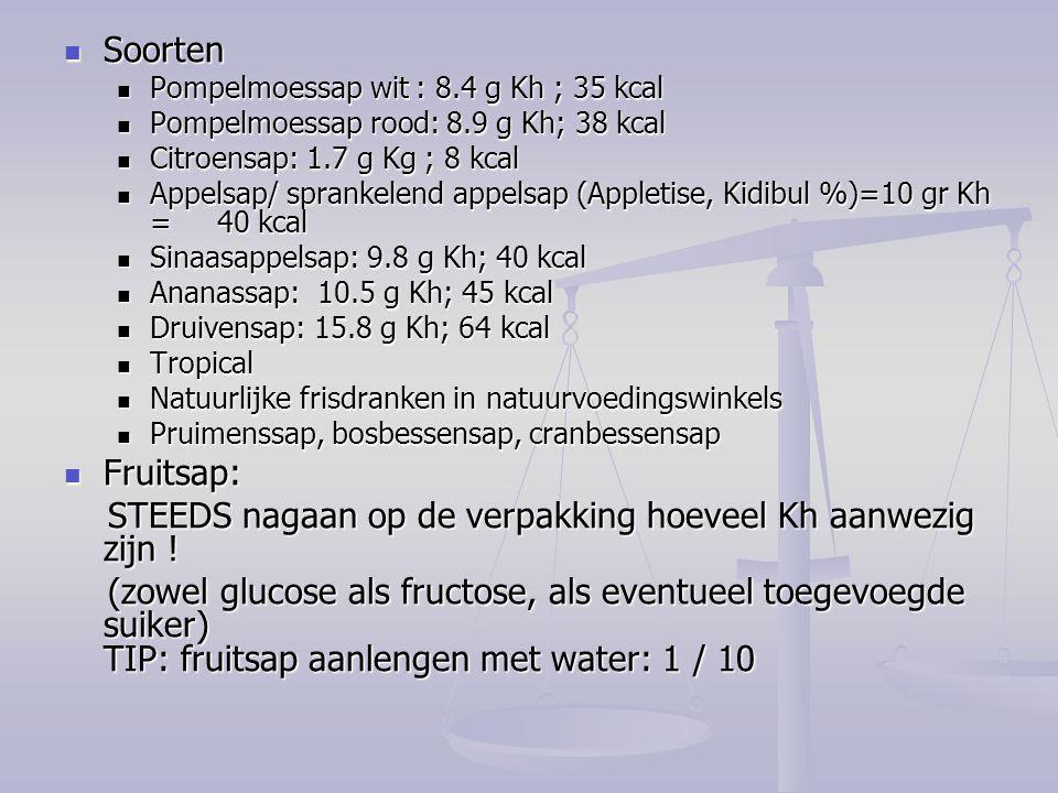 Soorten Soorten Pompelmoessap wit : 8.4 g Kh ; 35 kcal Pompelmoessap wit : 8.4 g Kh ; 35 kcal Pompelmoessap rood: 8.9 g Kh; 38 kcal Pompelmoessap rood