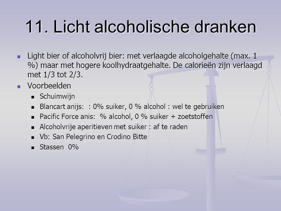 11. Licht alcoholische dranken Light bier of alcoholvrij bier: met verlaagde alcoholgehalte (max. 1 %) maar met hogere koolhydraatgehalte. De calorieë