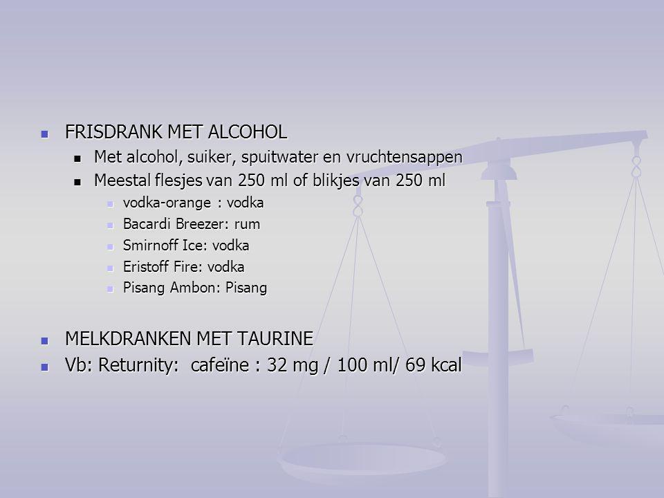 FRISDRANK MET ALCOHOL FRISDRANK MET ALCOHOL Met alcohol, suiker, spuitwater en vruchtensappen Met alcohol, suiker, spuitwater en vruchtensappen Meesta