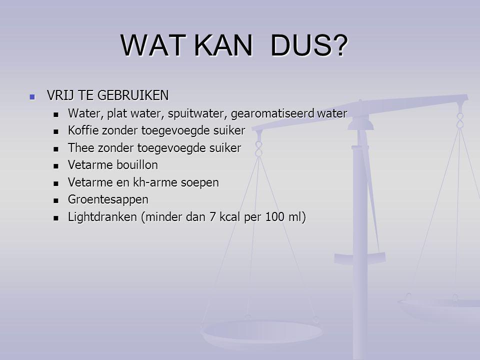 WAT KAN DUS? VRIJ TE GEBRUIKEN VRIJ TE GEBRUIKEN Water, plat water, spuitwater, gearomatiseerd water Water, plat water, spuitwater, gearomatiseerd wat