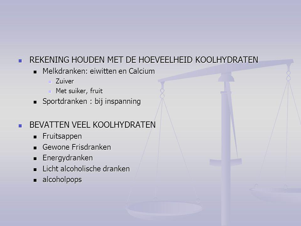 REKENING HOUDEN MET DE HOEVEELHEID KOOLHYDRATEN REKENING HOUDEN MET DE HOEVEELHEID KOOLHYDRATEN Melkdranken: eiwitten en Calcium Melkdranken: eiwitten