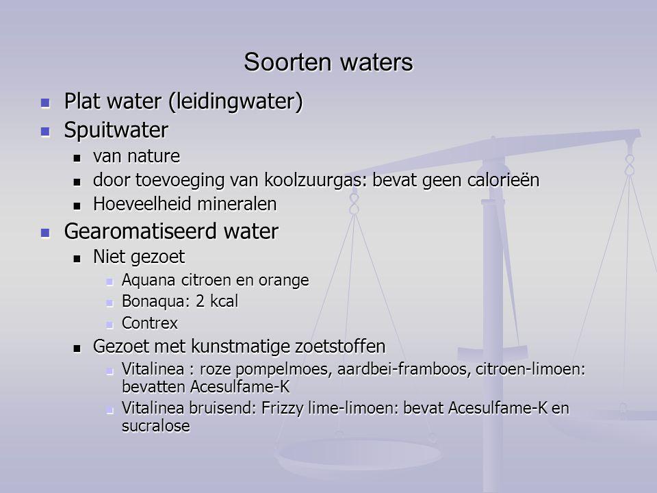 Soorten waters Plat water (leidingwater) Plat water (leidingwater) Spuitwater Spuitwater van nature van nature door toevoeging van koolzuurgas: bevat