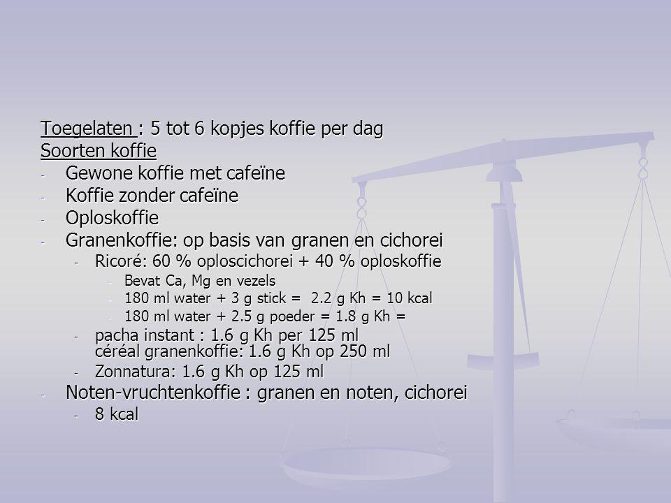 Toegelaten : 5 tot 6 kopjes koffie per dag Soorten koffie - Gewone koffie met cafeïne - Koffie zonder cafeïne - Oploskoffie - Granenkoffie: op basis v