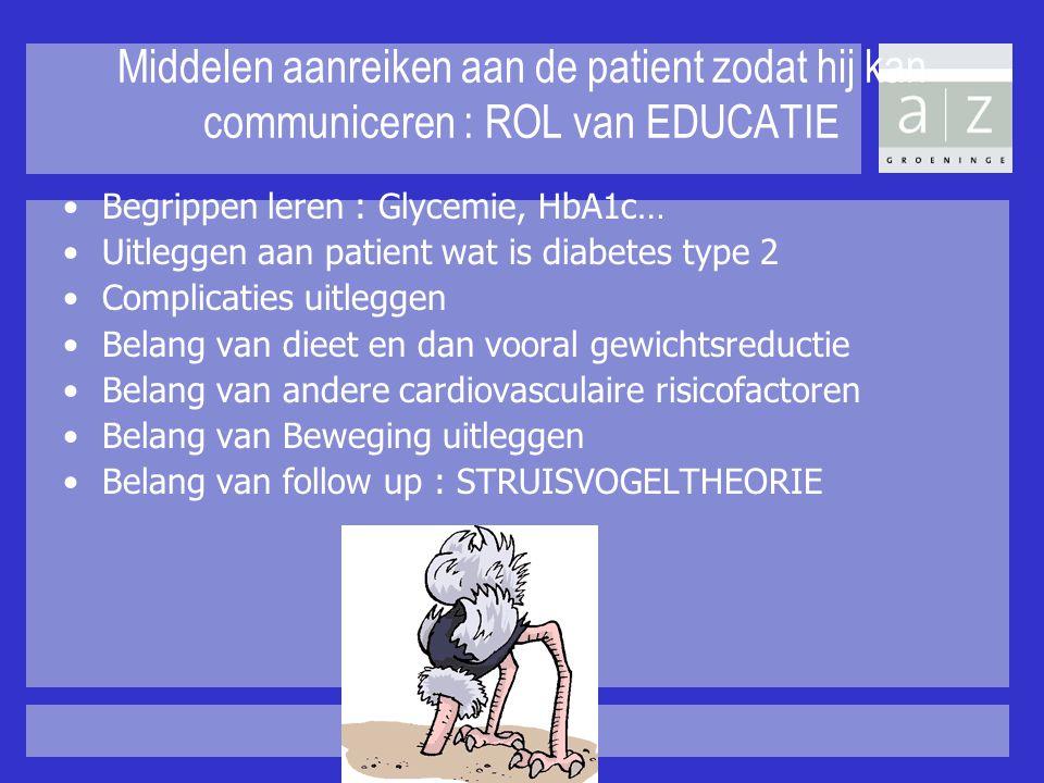 Middelen aanreiken aan de patient zodat hij kan communiceren : ROL van EDUCATIE Begrippen leren : Glycemie, HbA1c… Uitleggen aan patient wat is diabet