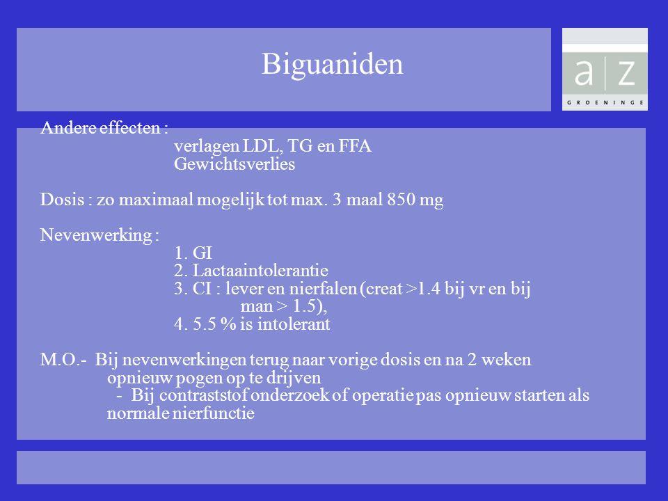 Biguaniden Andere effecten : verlagen LDL, TG en FFA Gewichtsverlies Dosis : zo maximaal mogelijk tot max. 3 maal 850 mg Nevenwerking : 1. GI 2. Lacta