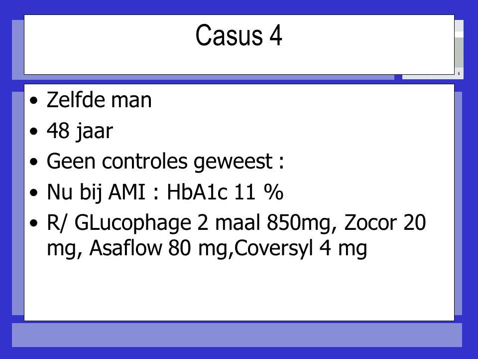 Casus 4 Zelfde man 48 jaar Geen controles geweest : Nu bij AMI : HbA1c 11 % R/ GLucophage 2 maal 850mg, Zocor 20 mg, Asaflow 80 mg,Coversyl 4 mg