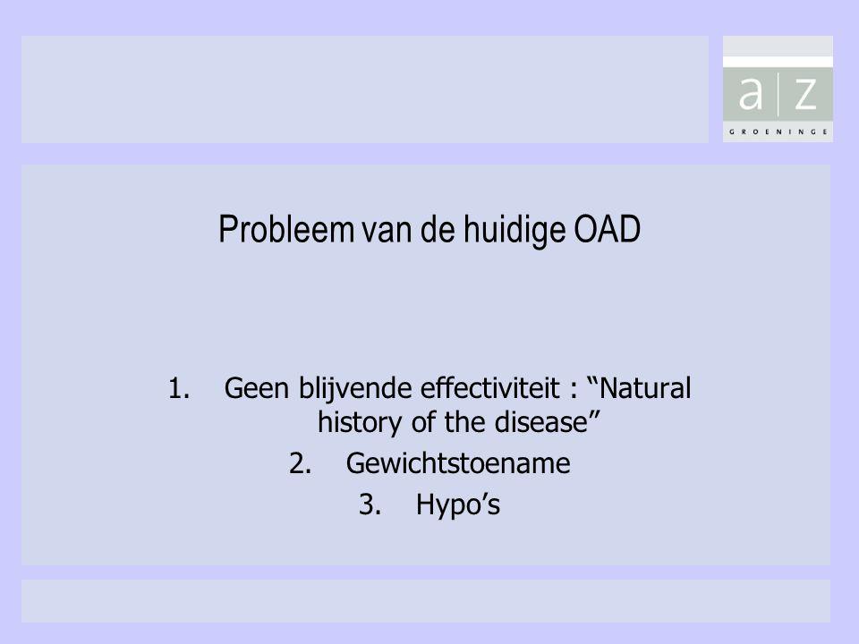"""Probleem van de huidige OAD 1.Geen blijvende effectiviteit : """"Natural history of the disease"""" 2.Gewichtstoename 3.Hypo's"""