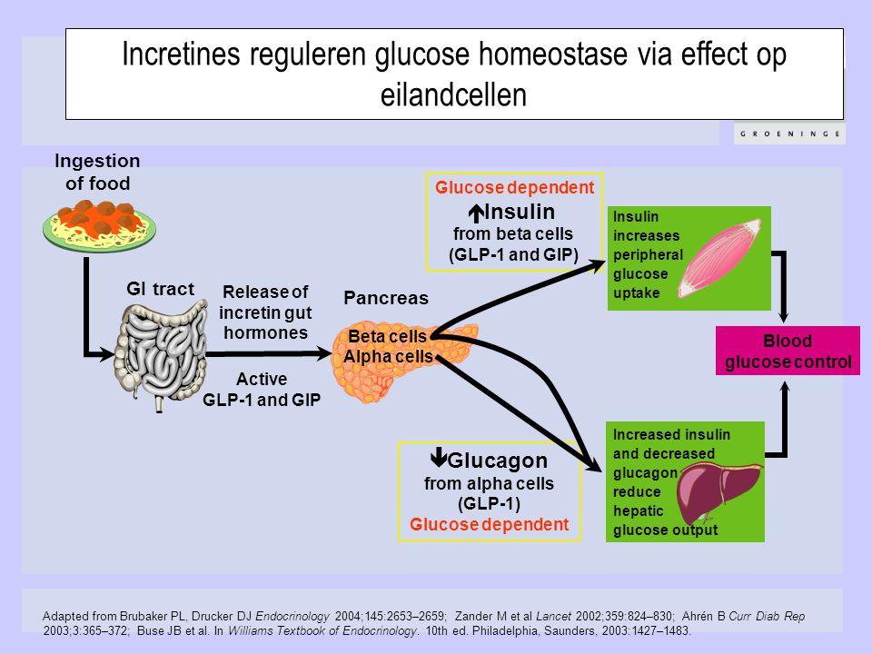 Adapted from Brubaker PL, Drucker DJ Endocrinology 2004;145:2653–2659; Zander M et al Lancet 2002;359:824–830; Ahrén B Curr Diab Rep 2003;3:365–372; B