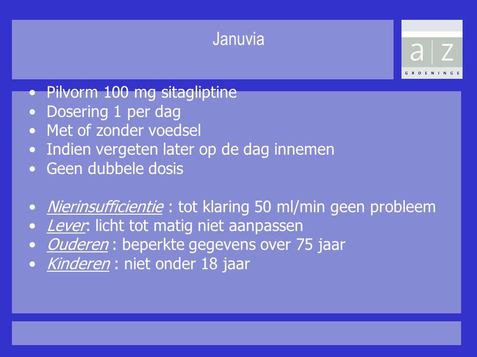 Januvia Pilvorm 100 mg sitagliptine Dosering 1 per dag Met of zonder voedsel Indien vergeten later op de dag innemen Geen dubbele dosis Nierinsufficie