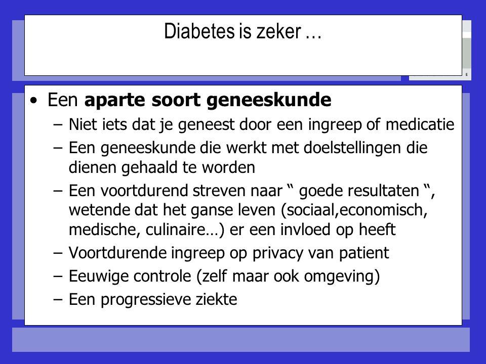 Diabetes is zeker … Een aparte soort geneeskunde –Niet iets dat je geneest door een ingreep of medicatie –Een geneeskunde die werkt met doelstellingen