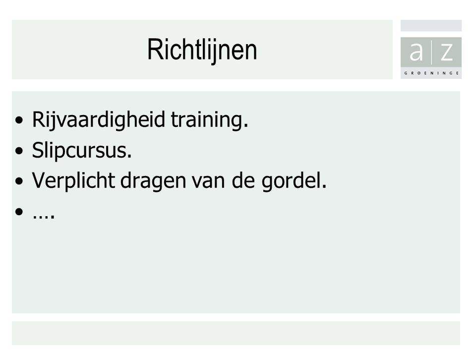 Richtlijnen Rijvaardigheid training. Slipcursus. Verplicht dragen van de gordel. ….