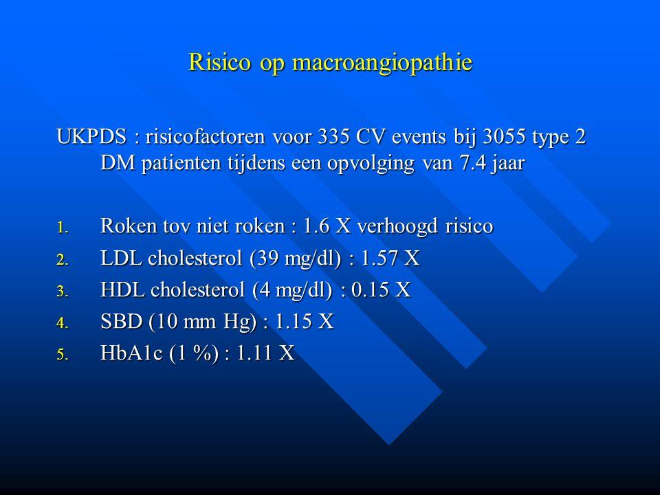 Risico op macroangiopathie UKPDS : risicofactoren voor 335 CV events bij 3055 type 2 DM patienten tijdens een opvolging van 7.4 jaar 1.