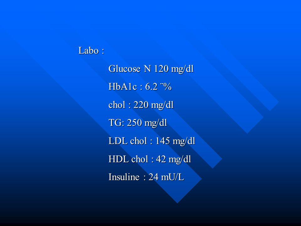 Labo : Glucose N 120 mg/dl HbA1c : 6.2 ¨% chol : 220 mg/dl TG: 250 mg/dl LDL chol : 145 mg/dl HDL chol : 42 mg/dl Insuline : 24 mU/L