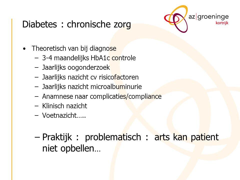 Diabetes : chronische zorg Theoretisch van bij diagnose –3-4 maandelijks HbA1c controle –Jaarlijks oogonderzoek –Jaarlijks nazicht cv risicofactoren –