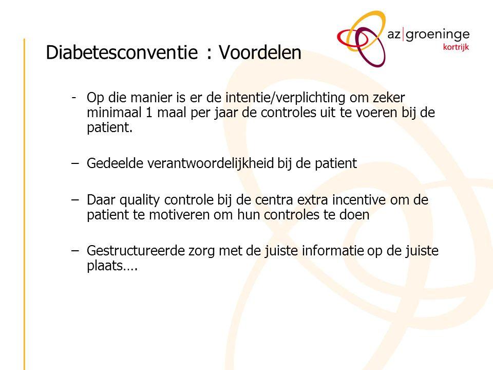 Diabetesconventie : Voordelen -Op die manier is er de intentie/verplichting om zeker minimaal 1 maal per jaar de controles uit te voeren bij de patien