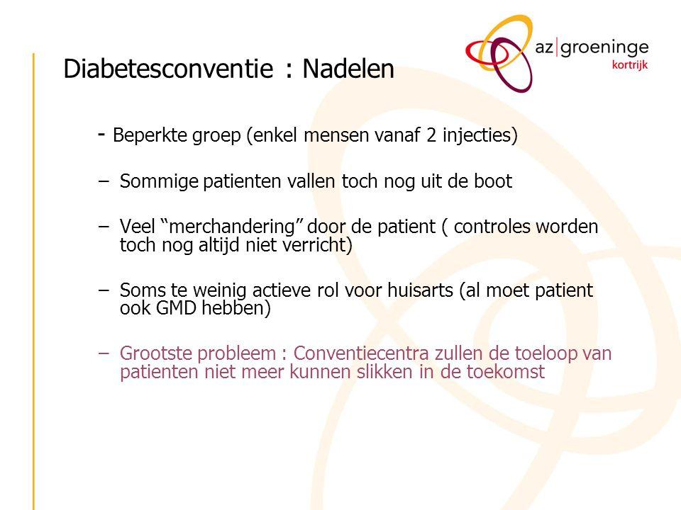 """Diabetesconventie : Nadelen - Beperkte groep (enkel mensen vanaf 2 injecties) –Sommige patienten vallen toch nog uit de boot –Veel """"merchandering"""" doo"""