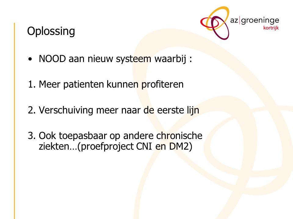 Oplossing NOOD aan nieuw systeem waarbij : 1.Meer patienten kunnen profiteren 2.Verschuiving meer naar de eerste lijn 3.Ook toepasbaar op andere chron