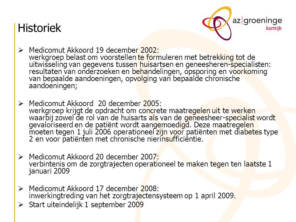 Historiek  Medicomut Akkoord 19 december 2002: werkgroep belast om voorstellen te formuleren met betrekking tot de uitwisseling van gegevens tussen h