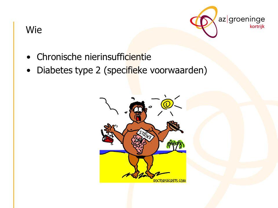 Wie Chronische nierinsufficientie Diabetes type 2 (specifieke voorwaarden)