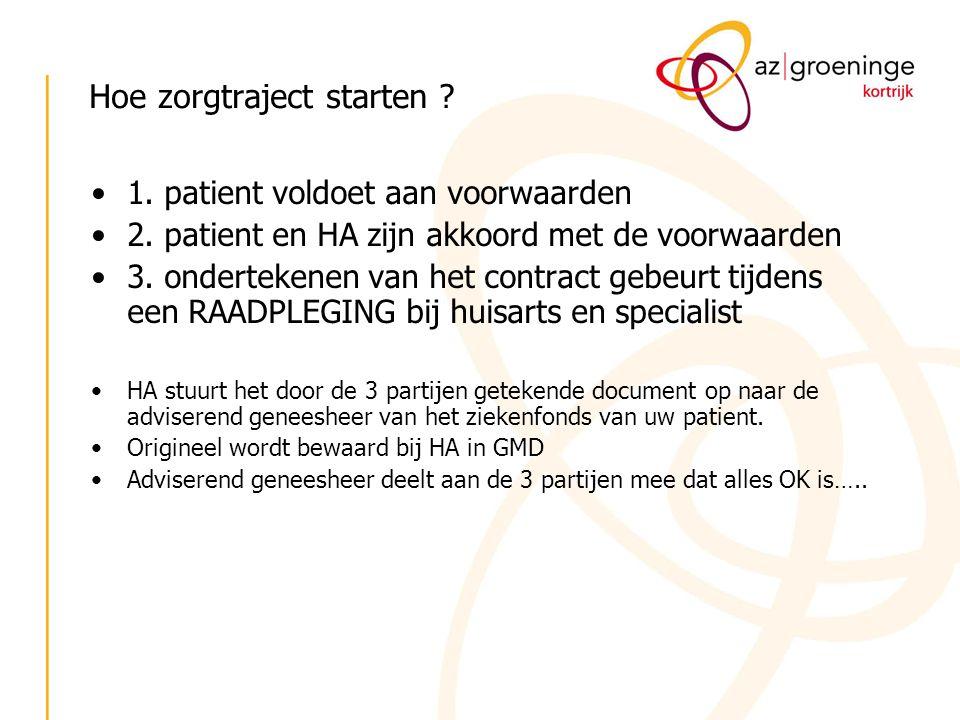 Hoe zorgtraject starten ? 1. patient voldoet aan voorwaarden 2. patient en HA zijn akkoord met de voorwaarden 3. ondertekenen van het contract gebeurt