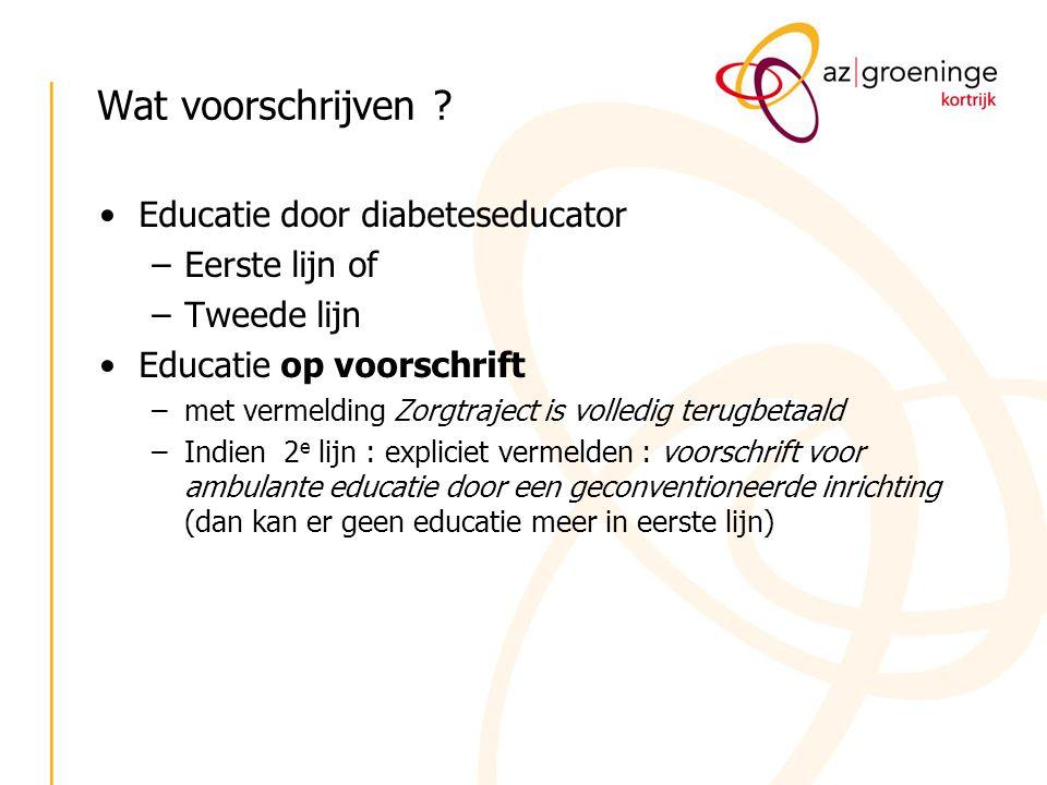 Wat voorschrijven ? Educatie door diabeteseducator –Eerste lijn of –Tweede lijn Educatie op voorschrift –met vermelding Zorgtraject is volledig terugb
