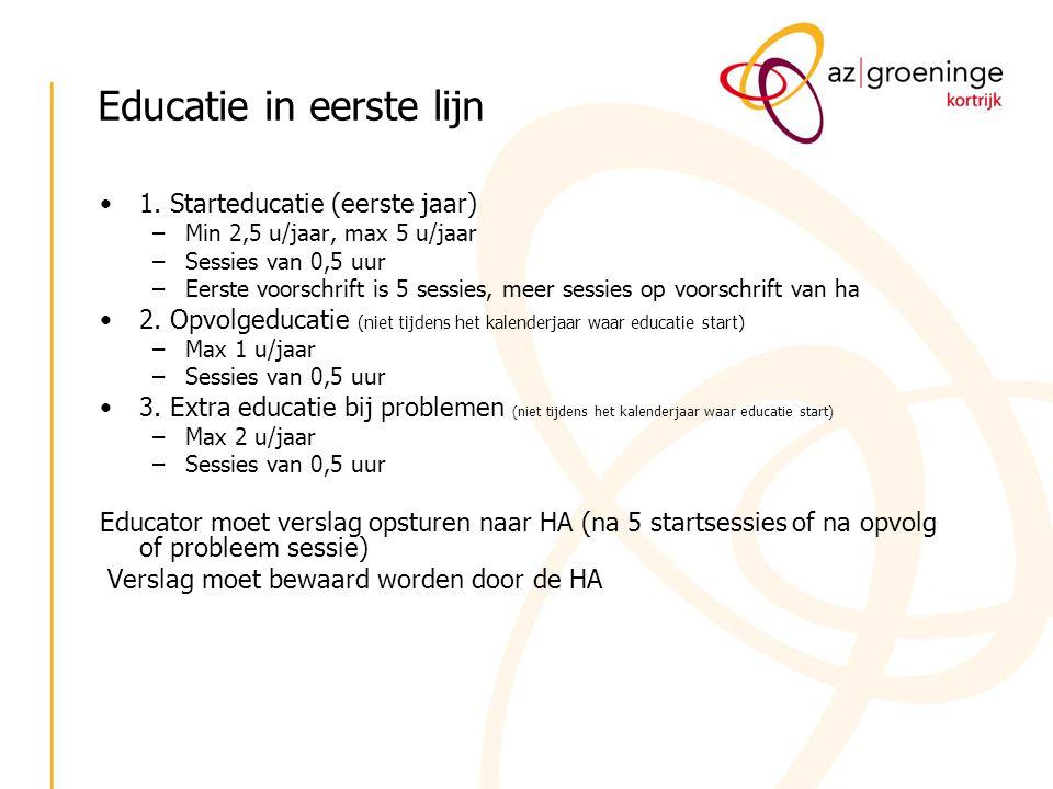 Educatie in eerste lijn 1. Starteducatie (eerste jaar) –Min 2,5 u/jaar, max 5 u/jaar –Sessies van 0,5 uur –Eerste voorschrift is 5 sessies, meer sessi