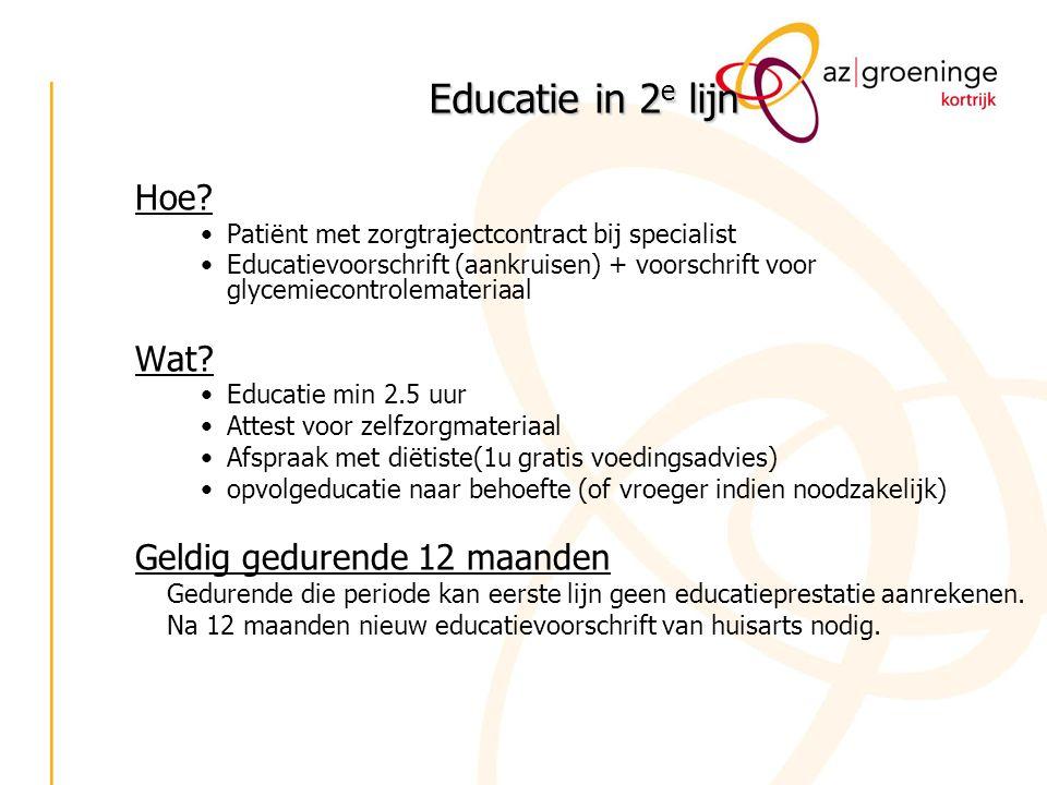 Educatie in 2 e lijn Hoe? Patiënt met zorgtrajectcontract bij specialist Educatievoorschrift (aankruisen) + voorschrift voor glycemiecontrolemateriaal