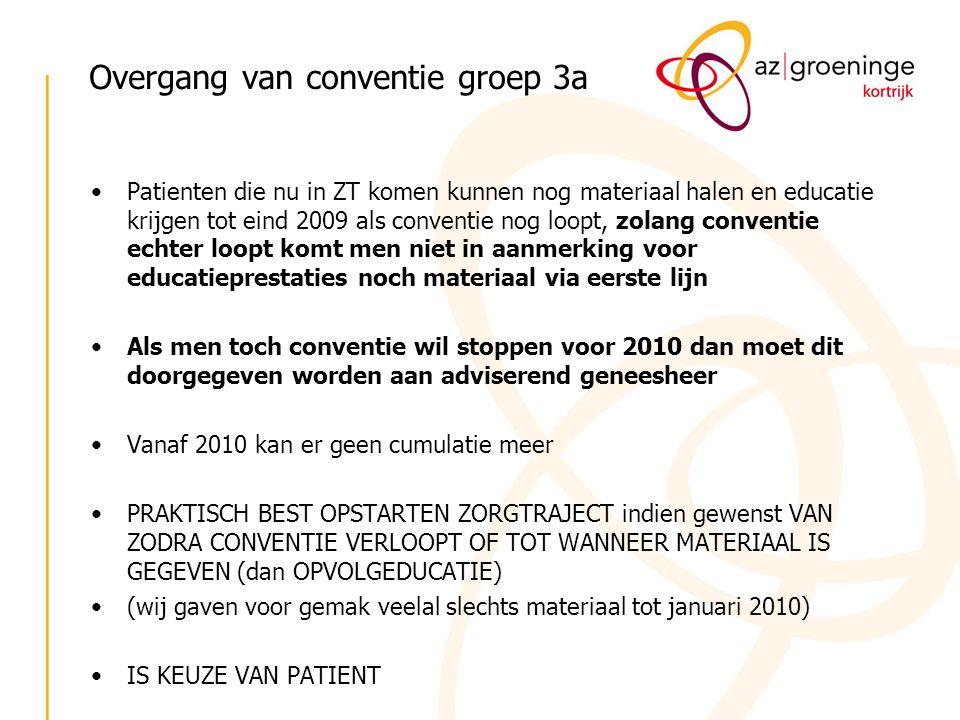 Overgang van conventie groep 3a Patienten die nu in ZT komen kunnen nog materiaal halen en educatie krijgen tot eind 2009 als conventie nog loopt, zol