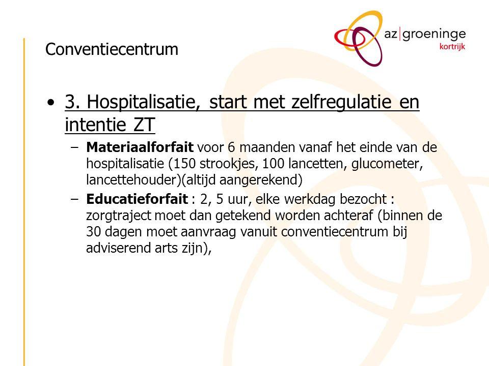 Conventiecentrum 3. Hospitalisatie, start met zelfregulatie en intentie ZT –Materiaalforfait voor 6 maanden vanaf het einde van de hospitalisatie (150