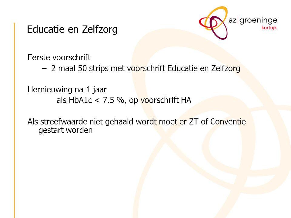 Educatie en Zelfzorg Eerste voorschrift –2 maal 50 strips met voorschrift Educatie en Zelfzorg Hernieuwing na 1 jaar als HbA1c < 7.5 %, op voorschrift
