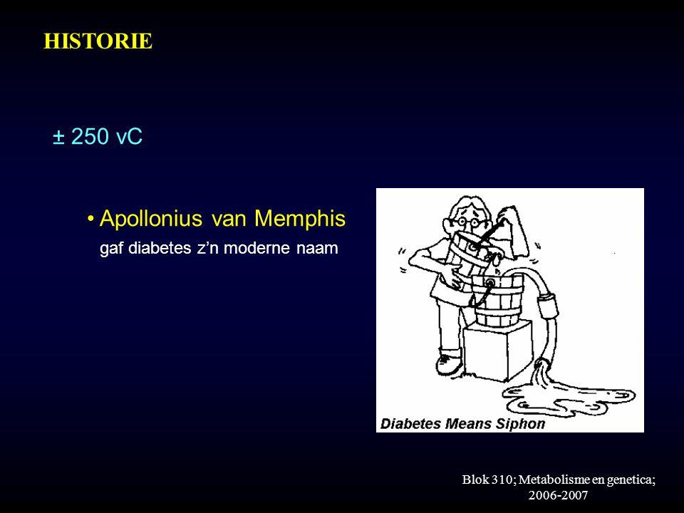 Blok 310; Metabolisme en genetica; 2006-2007 ± 250 vC Apollonius van Memphis gaf diabetes z'n moderne naam HISTORIE
