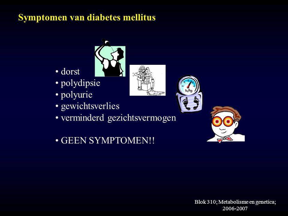 Blok 310; Metabolisme en genetica; 2006-2007 Symptomen van diabetes mellitus dorst polydipsie polyurie gewichtsverlies verminderd gezichtsvermogen GEEN SYMPTOMEN!!