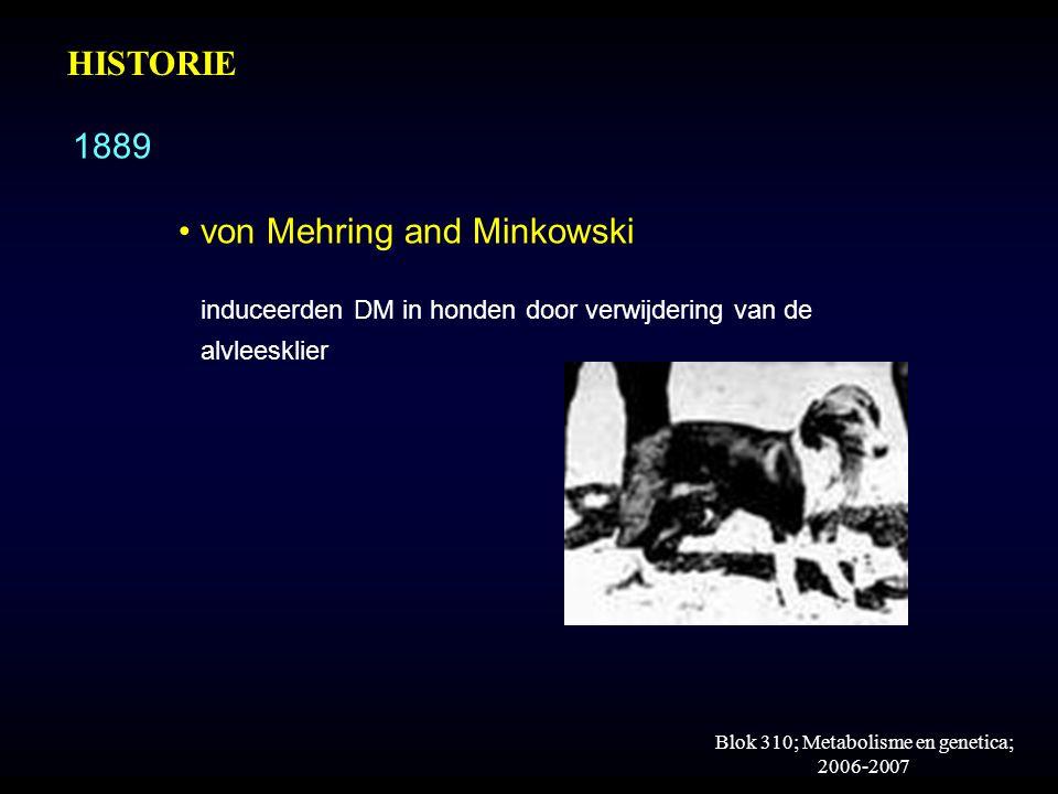 Blok 310; Metabolisme en genetica; 2006-2007 1889 von Mehring and Minkowski induceerden DM in honden door verwijdering van de alvleesklier HISTORIE