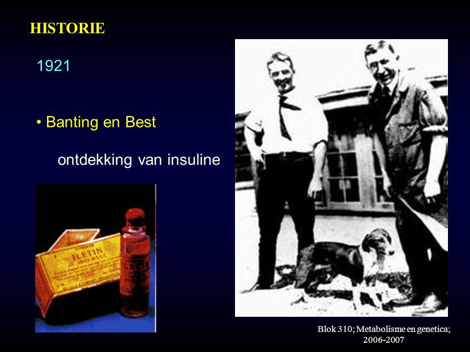 Blok 310; Metabolisme en genetica; 2006-2007 1921 Banting en Best ontdekking van insuline HISTORIE