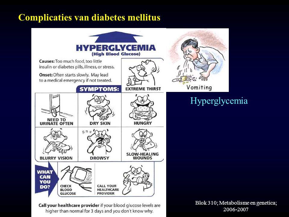 Blok 310; Metabolisme en genetica; 2006-2007 Complicaties van diabetes mellitus Hyperglycemia
