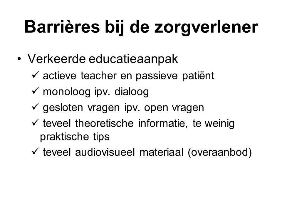Barrières bij de zorgverlener Verkeerde educatieaanpak actieve teacher en passieve patiënt monoloog ipv.