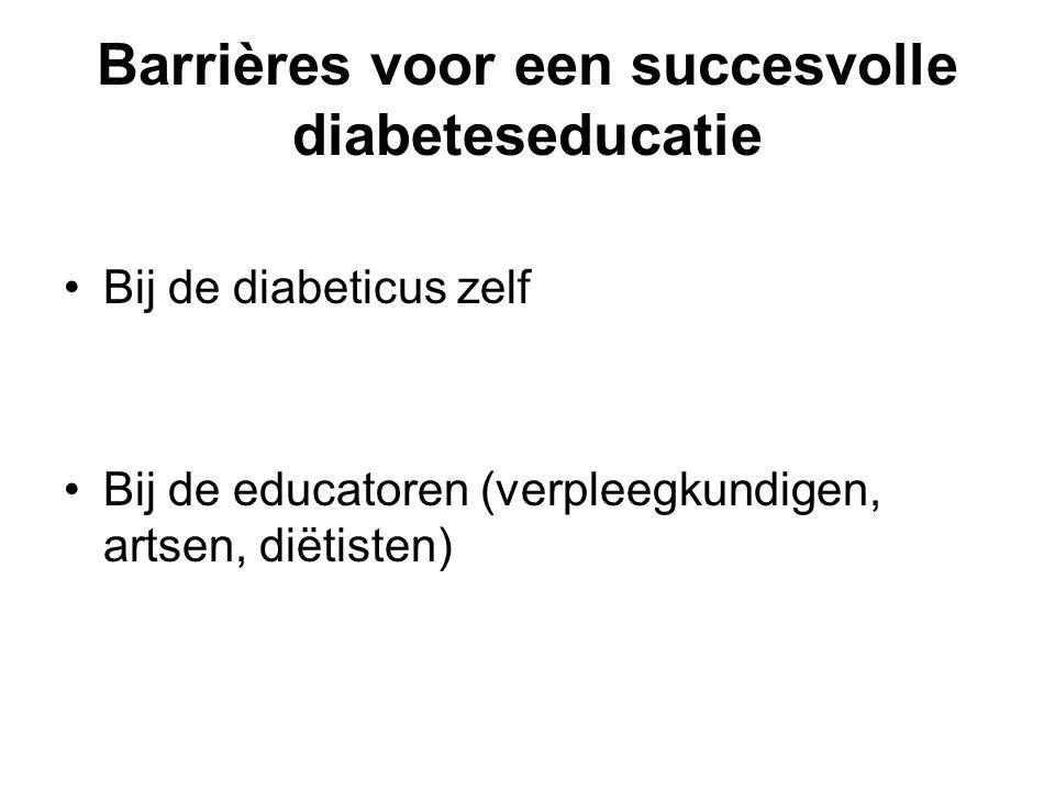 Barrières voor een succesvolle diabeteseducatie Bij de diabeticus zelf Bij de educatoren (verpleegkundigen, artsen, diëtisten)