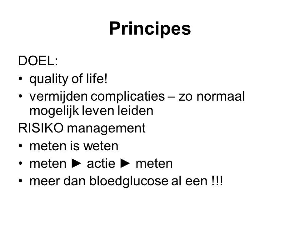Principes DOEL: quality of life! vermijden complicaties – zo normaal mogelijk leven leiden RISIKO management meten is weten meten ► actie ► meten meer
