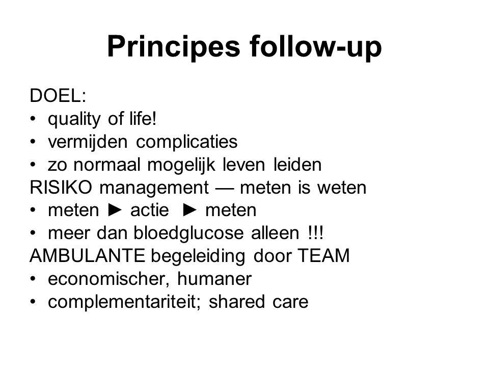 Principes follow-up DOEL: quality of life! vermijden complicaties zo normaal mogelijk leven leiden RISIKO management — meten is weten meten ► actie ►