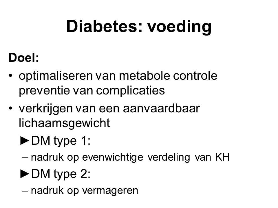 Diabetes: voeding Doel: optimaliseren van metabole controle preventie van complicaties verkrijgen van een aanvaardbaar lichaamsgewicht ►DM type 1: –nadruk op evenwichtige verdeling van KH ►DM type 2: –nadruk op vermageren