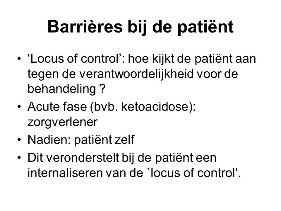 Barrières bij de patiënt 'Locus of control': hoe kijkt de patiënt aan tegen de verantwoordelijkheid voor de behandeling ? Acute fase (bvb. ketoacidose