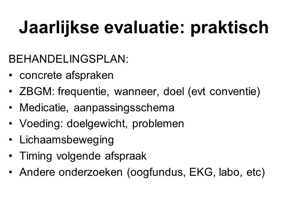 Jaarlijkse evaluatie: praktisch BEHANDELINGSPLAN: concrete afspraken ZBGM: frequentie, wanneer, doel (evt conventie) Medicatie, aanpassingsschema Voed