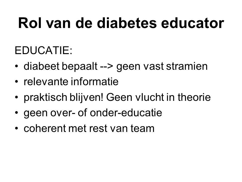 Rol van de diabetes educator EDUCATIE: diabeet bepaalt --> geen vast stramien relevante informatie praktisch blijven! Geen vlucht in theorie geen over