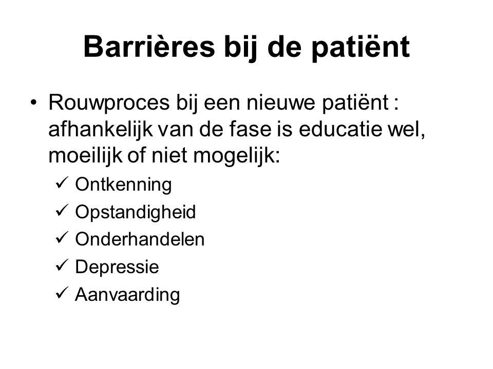 Barrières bij de patiënt Rouwproces bij een nieuwe patiënt : afhankelijk van de fase is educatie wel, moeilijk of niet mogelijk: Ontkenning Opstandigheid Onderhandelen Depressie Aanvaarding
