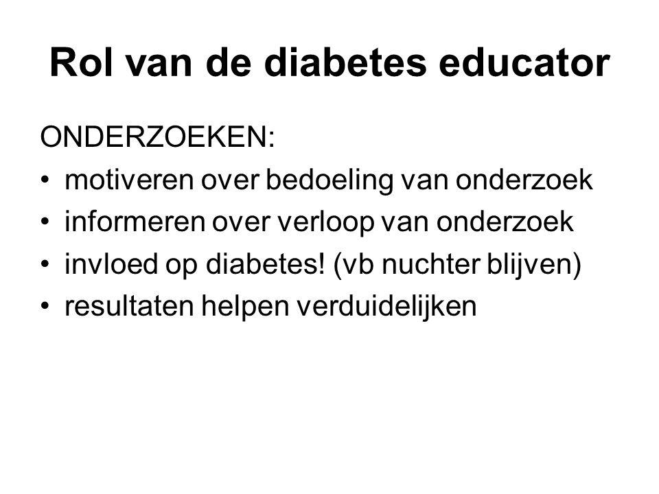 Rol van de diabetes educator ONDERZOEKEN: motiveren over bedoeling van onderzoek informeren over verloop van onderzoek invloed op diabetes! (vb nuchte